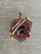 11.47c Tourmaline Watermelon Slice In 14k Gold Forge Wire Pendant Africa Totl Wt