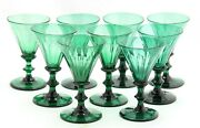 9x Antique Early 19th C. White Wine Glass Facet Cut Green Crystal