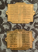 Two 2 Antique Vintage Brass Train Car Stamped Patent Plates