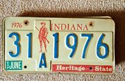 1976 Vintage Indiana Auto License Plate - Historic Antique Cars Bicentennial