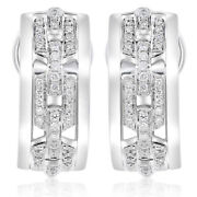 Wide .47ct Diamond 14kt White Gold 3d Matte And Shiny Umbrella Clip On Earrings