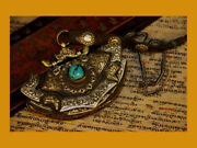 @wonderful 19th Century Old Antique Tibet Noble Turquoise Purse Wallet Notecase@
