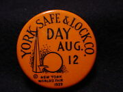 York Safe And Lock Company Day, August 12, 1939 New York Worlds Fair Pin
