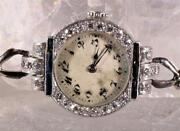 Vintage Ed Koehn Platinum And Gold Ladies Watch Accented By Diamonds And Sapphires