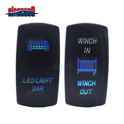Laser Blue Winch In/out + Led Light Bar Rocker Switch For Honda Pioneer 700 1000