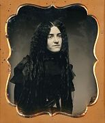 Gorgeous Young Woman With Very Long Curled Hair 1/6 Plate Daguerreotype G518