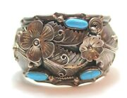 Signed Mexican Vintage Sterling Silver Cuff Turquoise Desert Rose Bracelet