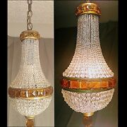 Antique French Empire Style Amber Crystal Basket Chandelier, 1920's Art Deco
