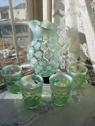 Antique Fenton Green Coin-dot Opalescent Pitcher, 9 With5tumb, Rare,100yrs Old