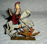 Vintage Rare Lead Flat Saint George Slaying A Dragon Excellent Cond. Free Ship