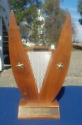 Vintage Womens Bowling Trophy Wood And Metal 13 Tall Mid Century Modern 1962-63