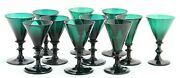 11x Antique 18th C White Wine Glass Ca.1780 Holland Green Crystal