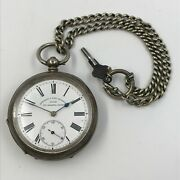 Fattorini And Sons, Bradford Silver Pocket Watch With Chain -approx. 1900