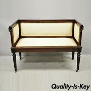 Antique French Empire Mahogany Bench Settee With Bronze Ormolu And Even Arms