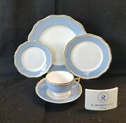 Raynaud Polka Blue Dinner, Salad, Bread And Butter, Cup And Saucer