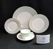 Raynaud Crinoline Green/mille Raies Dinner, Salad, Bread And Butter, Cup And Saucer