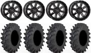 System 3 St-4 Black 14 Wheels 30 Outback Max Tires Honda Rincon Rancher