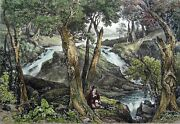 New-jersey Water Fall Near Schooley Baths - Engraving From 19th, Watercolored