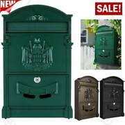 Vintage Mailbox Wall Mount Post Box Outdoor Locking Letter Post Box Mail