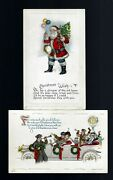 2 Vintage Embossed Postcards - 1 Xmas Santa And 1 New Years With Old Car And People