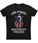 Air Force Security Police Patriotic Mens Short Sleeve New Cotton Black T-shirt