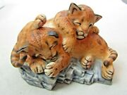 Lenox Nature's Young Played Out Cougar Cubs 1988 Fine Porcelain Figurine