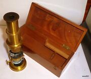 Antique French Brass Drum Microscope With Original Wood Case