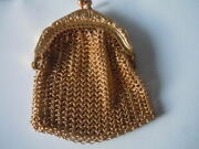 Vintage Germany Gold Tone Mesh Coin Purse