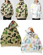 A Bathing Ape Menand039s Full Zip Hoodie Def Camo Shark Fast Shipping From Japan