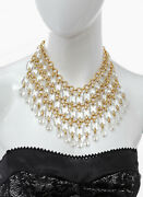 1980s De Liguoro Bib Necklace W Faceted Crystal Beads And Emerald Cut Clear Lucite