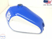 Husqvarna Petrol Chrome And Blue Painted Steel Tank With Cap 1982 -1983 |fit For