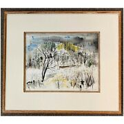 William Thon Abstract Watercolor Landscape Painting Crow Island Maine 1953