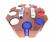 Poker Set Rotating Vtg Caddy Playing Cards Red White Blue Plastic Hoyle Chips