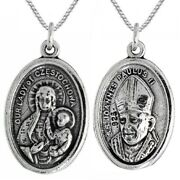 Sterling Silver Our Lady Czestochowa And Pope John Paul Ii Pendant / Charm, Chain