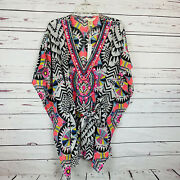 Lucky And Coco Beach Cover Up Small Tunic Black White Neon Beaded V-neck Nwt