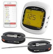 Long Range Wireless Thermometer, White 2 Probes Remote Bbq Smoker Oven Meat 200'