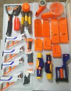 Nerf Dart Gun Accessory Lot Of 21 Pieces Ammo Drums Stock Grip Scope Axe Tri-pod