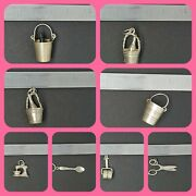 Sterling Silver 925 Charms Vintage Mt25 Ice Bucket Mixer Spoon Scissors Cooking