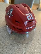 2019/20 Niagara Icedogs Ethan Sims 21 Ohl Game Worn And Signed Helmet