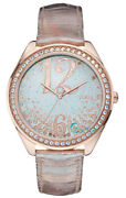 Guess Crystals Rose Gold Analogue Quartz Leather Strap Ladies Watch W0337l3