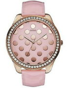 Guess Crystals Rose Gold Analogue Quartz Pink Leather Strap Ladies Watch W0258l3