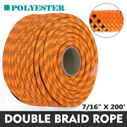 200and039 Double Braid Polyester Rope Rigging Rope 7/16 8400lbs Breaking Strength