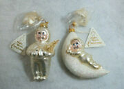 Dept 56 Snowbabies Night Before Christmas Blown Glass Ornaments Lot Of 2 X1298