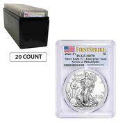 Lot Of 20 - 2021 P 1 Oz Silver American Eagle Pcgs Ms 70 Fs Emergency Issue