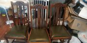 Antique Mahogany / Leather Wooden Chairs Victorian Edwardian Oak