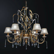 Chandelier Classic Wooden And Crystal Leaf Gold 6 Lights Bga 3153-6