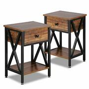 Vecelo Modern Versatile Nightstands X-design Side End Table Night Stand,set Of 2