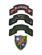 2nd Ranger Bn Scroll Grouping - 3 Scrolls And A 75th Unit Insignia - Hook And Loop