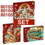 Lego Chinese New Year Temple Fair+lion Dance+dragon Boat Race 80103 80104 80105