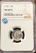 Dimes Winged Liberty Head Or Mercury 1943 P Ngc Ms-68 Pl